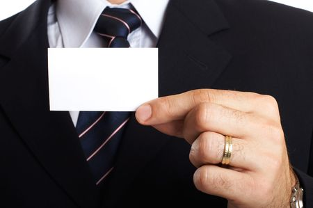 Young Modern Businessman Closeup - presenting his business card Stock Photo - 701235