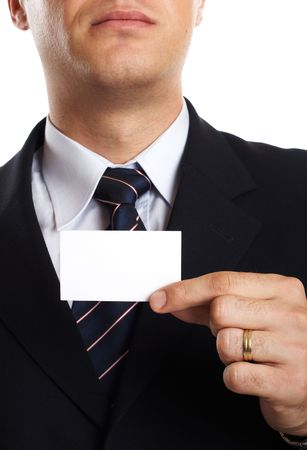 Young Modern Businessman Closeup - presenting his business card Stock Photo - 701234