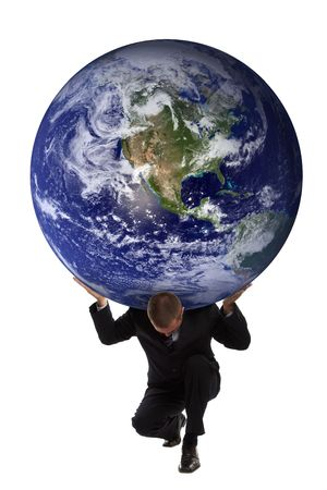 Businessman holding the earth globe on his shoulders - Greek mytholgy - Atlas Stock Photo - 701210