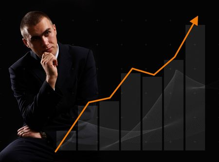 friendly competition: Modern Businessman watching finance chart rising