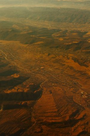 Aerial view from airplane above Romania photo