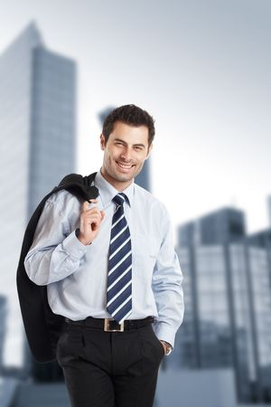 Handsome Businessman with cheerful expression - check my portfolio for similar photos Stock Photo - 1149395