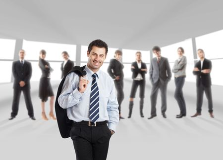 The elite business team with Team Leader in front - in office environment - check my gallery for more business photos Stock Photo - 1149399