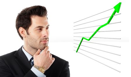 increment: Handsome Businessman shot in studio isolated on white watching a 3d graph- check my portfolio for similar photos Stock Photo