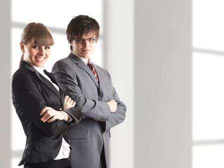 Young attractive business people - businessman and businesswoman Stock Photo - 1149406