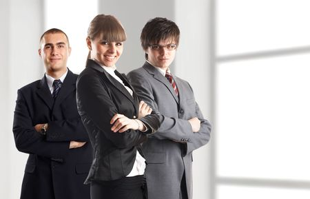 Young attractive business people - businesswoman and 2 businessman Stock Photo - 1149407