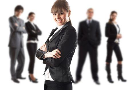 �lite: Il businesswoman - squadra di sogno dellelite - metta a fuoco sulla donna nella met� Archivio Fotografico