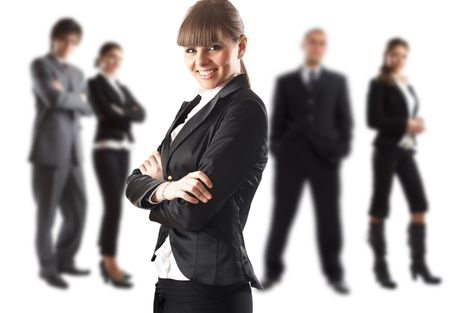 The Businesswoman - elite dream team - focus on the woman in the middle Stock Photo - 1149410