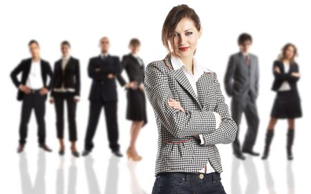 Young attractive business people - the elite business team - focus on the woman Stock Photo - 1186347