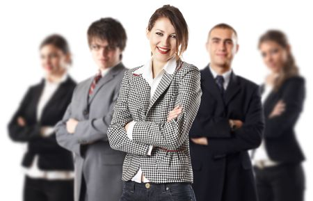 Young attractive business people - the elite dream team - focus on the woman in the middle Stock Photo - 1186348