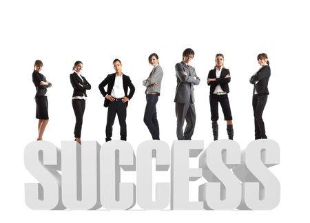 �lite: Attraente giovani uomini d'affari - l'�lite business team - in 3d testo 'successo'  Archivio Fotografico