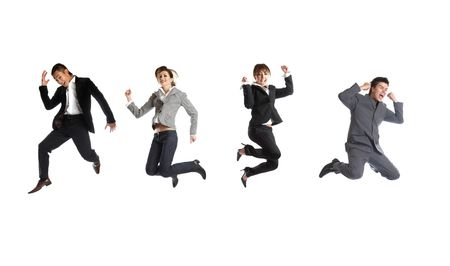 The jump - Young attractive business people - in middle-air jumping Stock Photo - 1186297