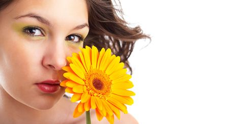 check out: Beautiful angelic woman with a flower - check out my portfolio for more pictures Stock Photo
