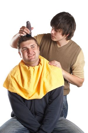 Handsome man getting a haircut - isolated white background Stock Photo - 1186133