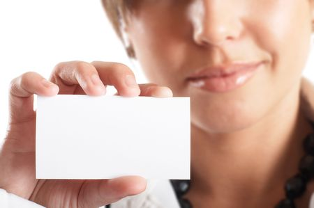 Attractive Businesswoman Closeup - presenting her business card Stock Photo - 1149427