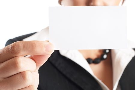 Attractive Businesswoman Closeup - presenting her business card photo