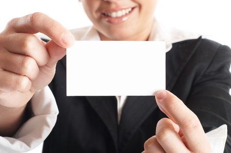 Attractive Businesswoman Closeup - presenting her business card Stock Photo - 1149429