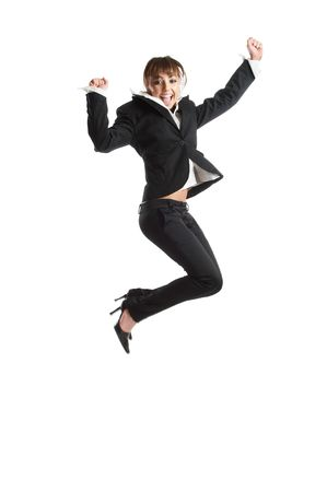 Young attractive business woman jumping for happiness Stock Photo - 1186110