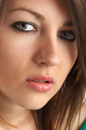 ad: Beautiful Fashion Model shot in studio - great green eyes