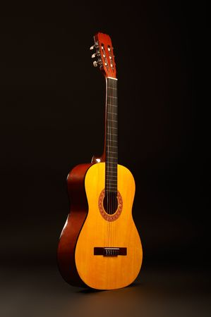 tune: Acoustic guitar over black background standing position