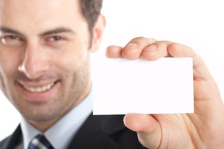 Handsome Businessman Closeup - presenting his business card Stock Photo - 1149481