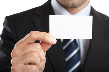 Handsome Businessman Closeup - presenting his business card Stock Photo - 1149482