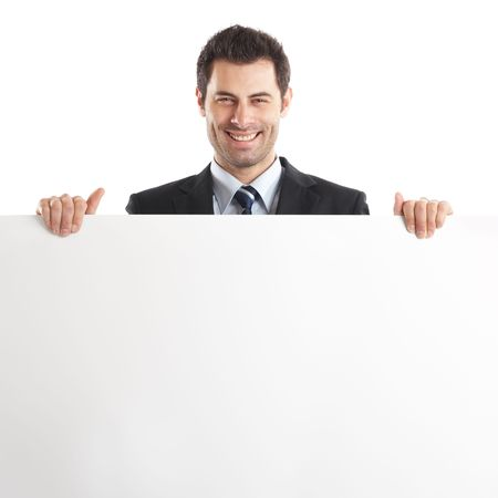 him: Handsome Businessman holding a blank sign in front of him