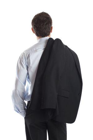 Homme d'affaires tiré de l'arrière isolée en studio sur fond blanc - il suffit de placer dans votre conception - vérifier mon portefeuille d'affaires pour plus de photos Banque d'images
