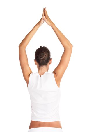 Beautiful woman stretching after workout - high key shot in studio Stock Photo - 1201826
