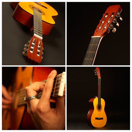 re do: Music comp - Acoustic guitar over black background