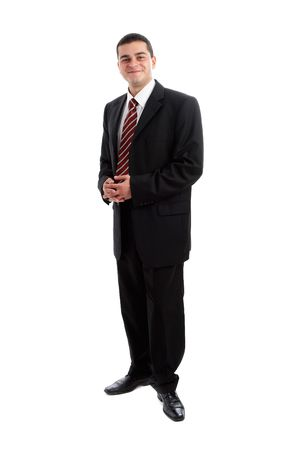 Handsome Businessman in black outfit shot in studio isolated on white Stock Photo - 1799253