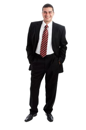 Handsome Businessman in black outfit shot in studio isolated on white Stock Photo - 1799263