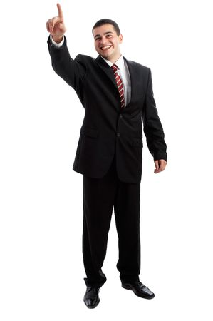 Handsome Businessman in black outfit shot in studio isolated on white Stock Photo - 1799259