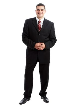 Handsome Businessman in black outfit shot in studio isolated on white Stock Photo - 1799260