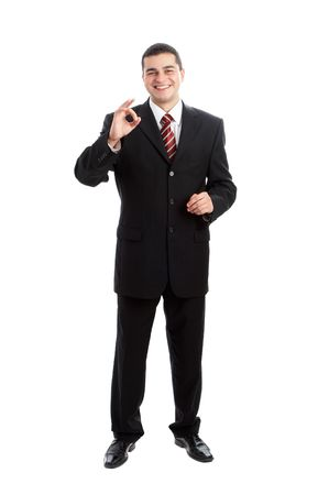 Handsome Businessman in black outfit shot in studio isolated on white  Stock Photo - 1799256