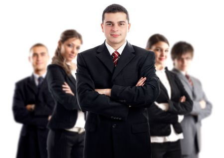 Leader and his team - Young attractive business people - focus only on businessman in the middle Stock Photo - 1827676