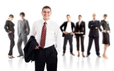 Leader and his team - Young attractive business people Stock Photo - 1842869