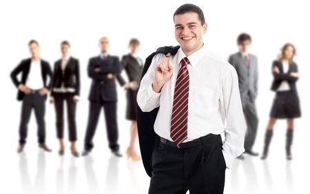 Leader and his team - Young attractive business people Stock Photo - 1842870