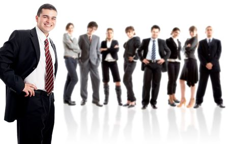 Leader and his team - Young attractive business people Stock Photo - 1842872
