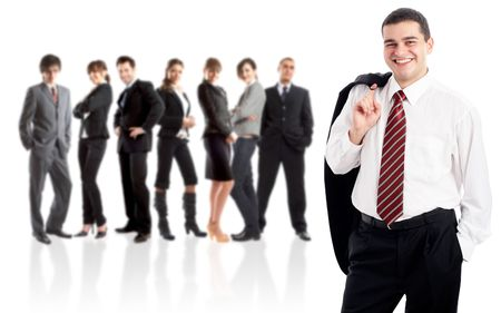 Leader and his team - Young attractive business people Stock Photo - 1842873