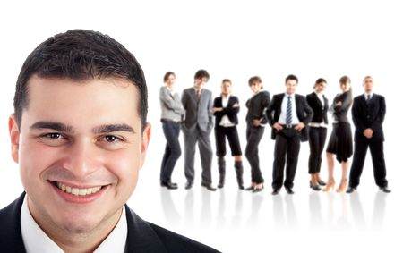Leader and his team - Young attractive business people Stock Photo - 1842871