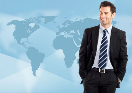 Young attractive businessman with world map in background - globalization Banque d'images