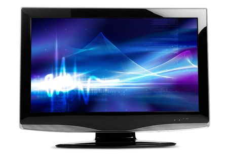 Flat TV on white background - clipping path included both for contour and display