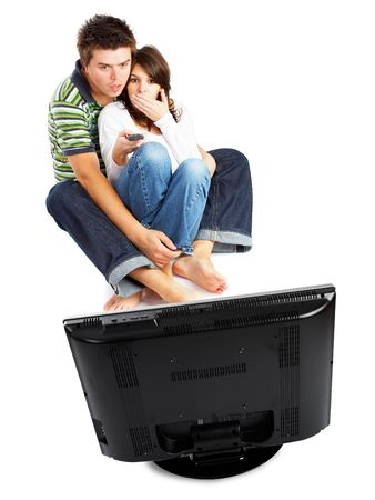 Couple watching TV - front view - isolated on white photo