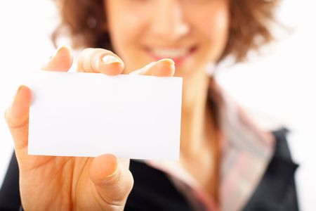Studio shot of Businesswoman presenting her business card