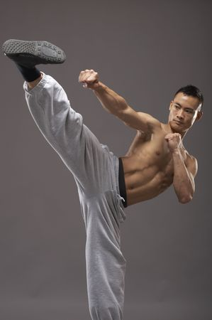 Young asian martial arts man over gray background Stock Photo - 3111960