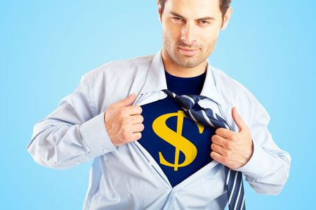 fully unbuttoned: Concept image of Business Superhero pulling open shirt to reveal Dollar Sign