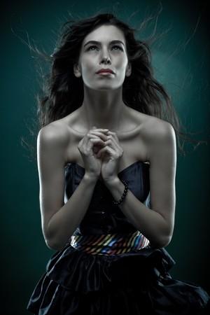 Dynamic portrait of a beautiful woman shot in studio Stock Photo