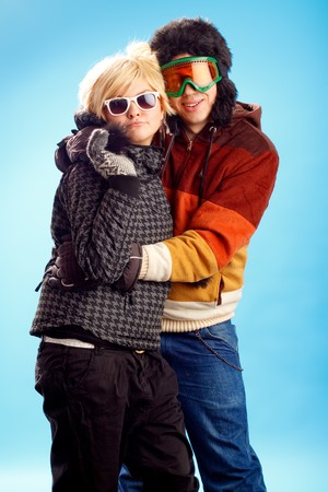 Happy young couple having fun winter themed image Stock Photo - 4240912