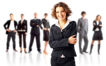 Leader and his team - Young attractive business people Stock Photo